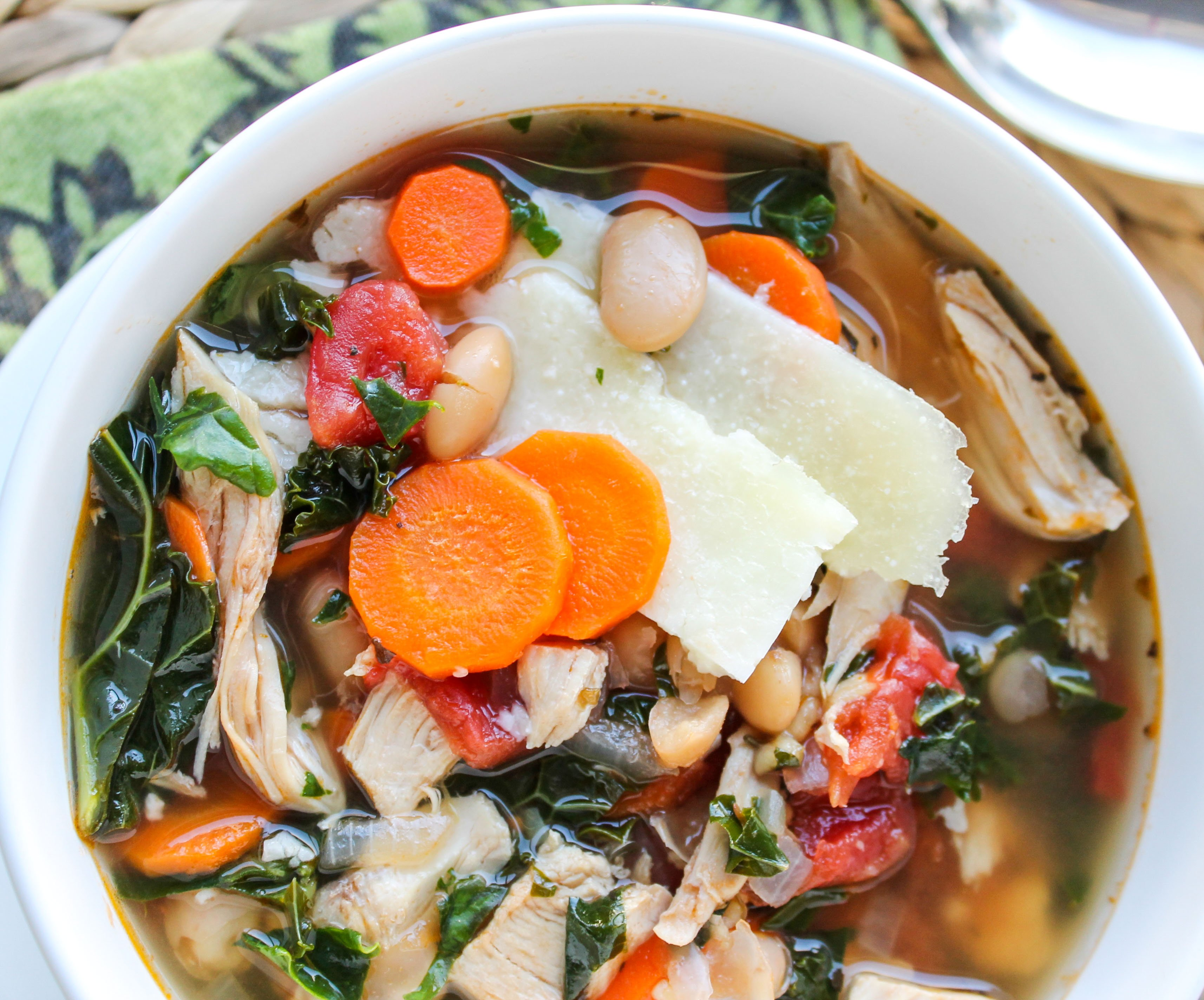 Kale Chicken White Bean Soup With Parmesan Shavings The Food
