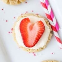 Coconut-Frosted Sugar Cookies with Strawberry Hearts