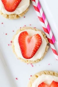 Coconut-Frosted Sugar Cookies with Strawberry Hearts from TheFoodCharlatan.com