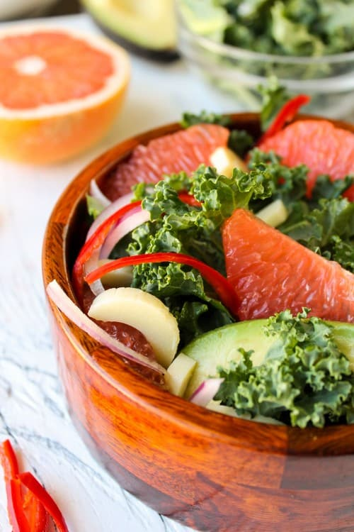 Grapefruit, Kale & Hearts of Palm Salad