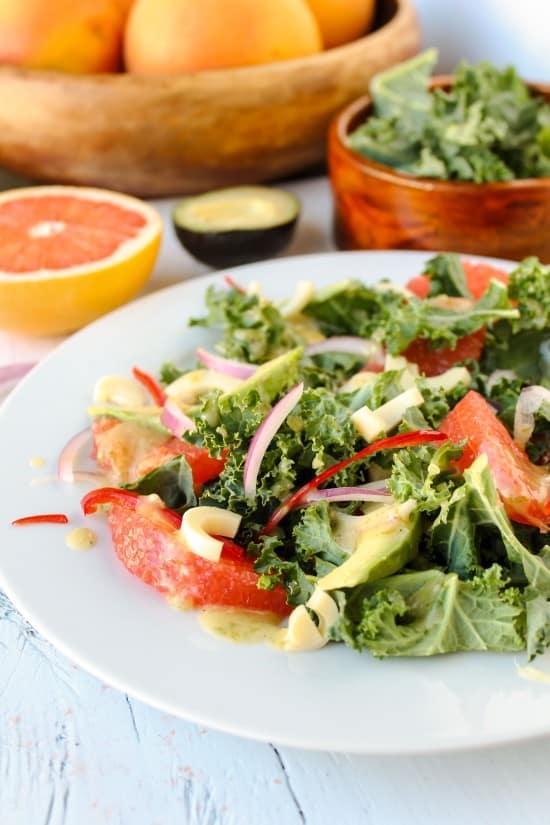 Grapefruit, Kale & Hearts of Palm Salad