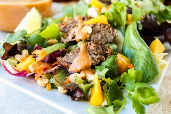 CrockPot Thai Steak Salad with Peanut-Hoisin Sauce