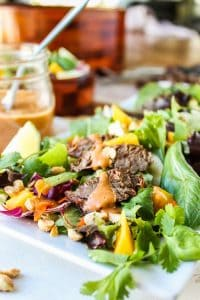 CrockPot Thai Steak Salad with Peanut-Hoisin Sauce from The Food Charlatan