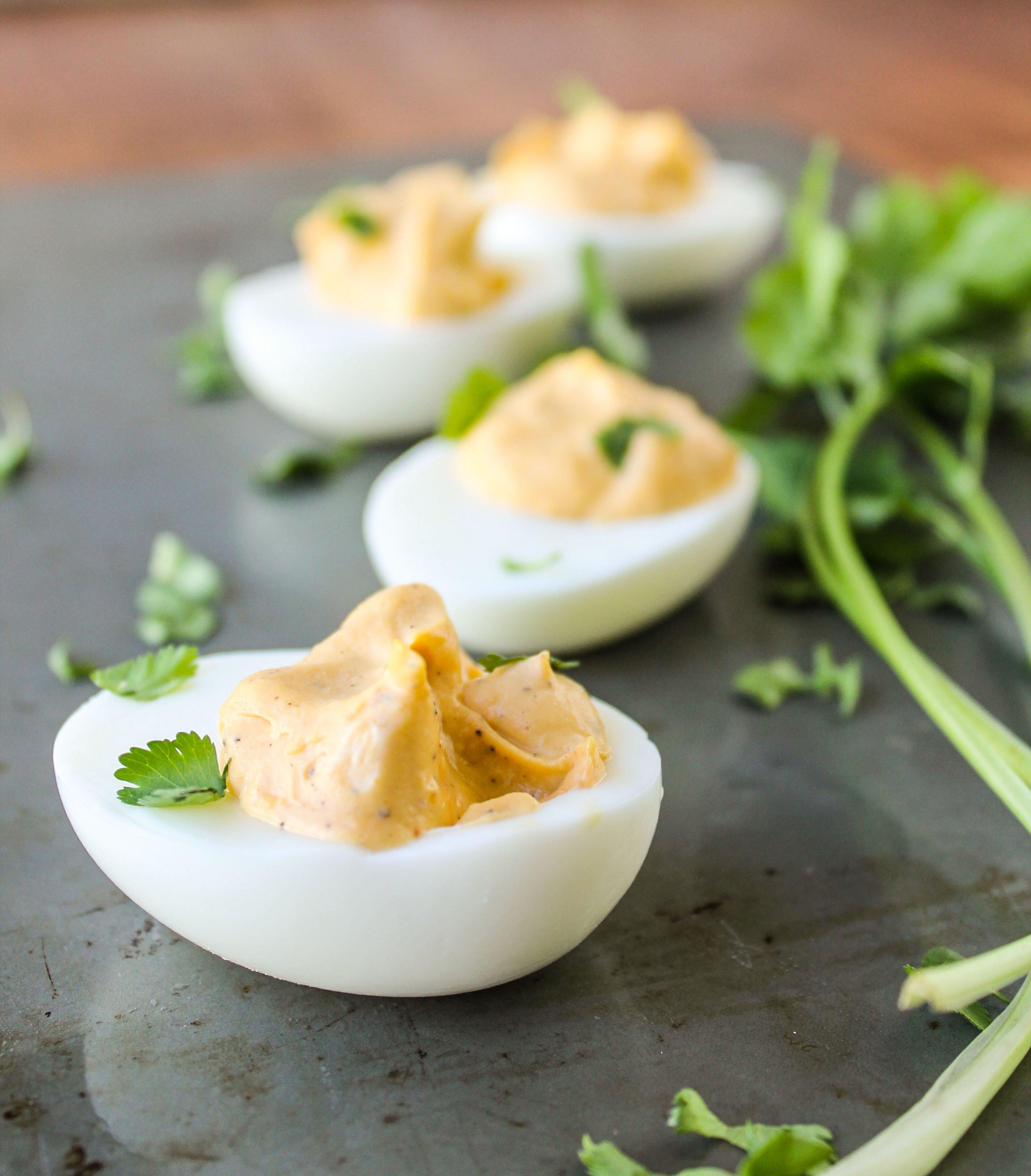 Sriracha Deviled Eggs - The Food Charlatan