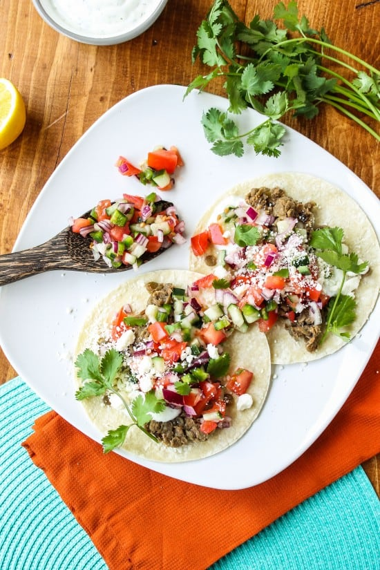 Greek Lentil Tacos with Cucumber Pico de Gallo