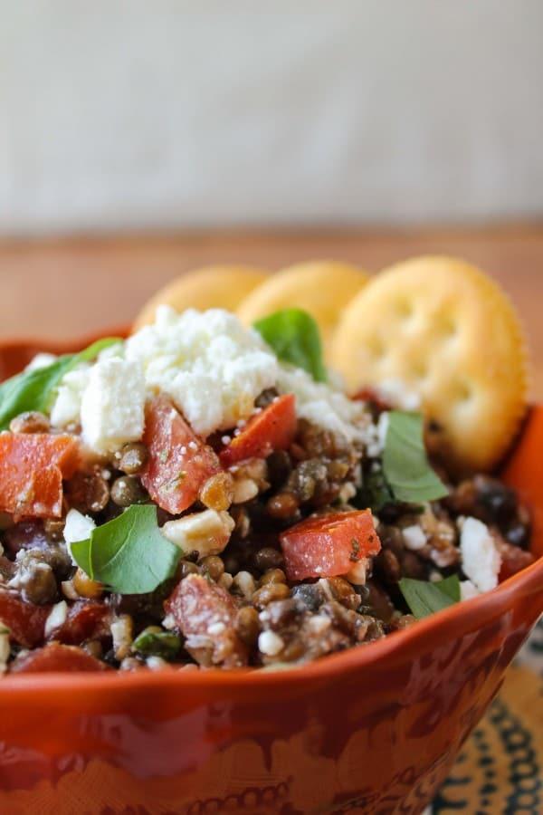 Fresh Bruschetta and Lentil Dip