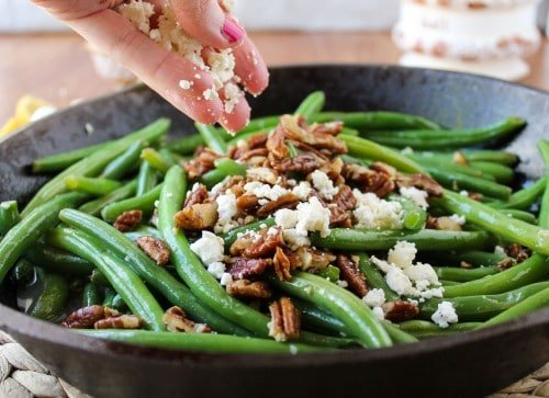 Green Beans with Feta and Fried Pecans