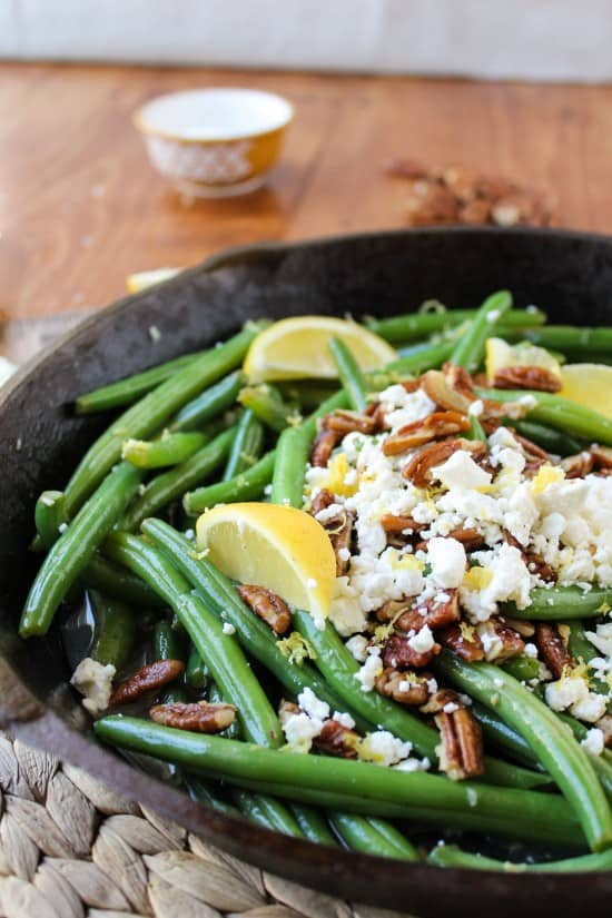 Lemon Green Beans with Feta and Fried Pecans from TheFoodCharlatan.com