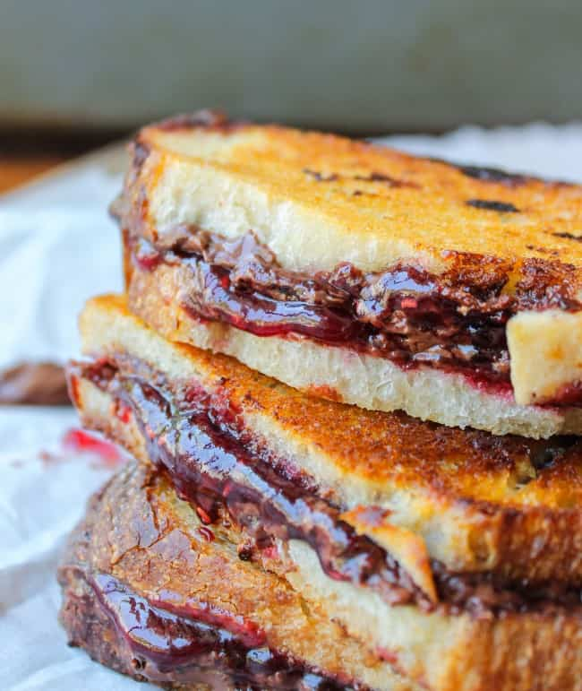 Raspberry Nocciolata Grilled Sandwich from The Food Charlatan