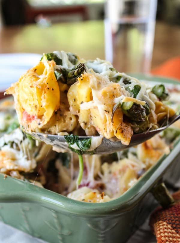 Easy Cheesy Asparagus Tortellini Bake from TheFoodCharlatan.com