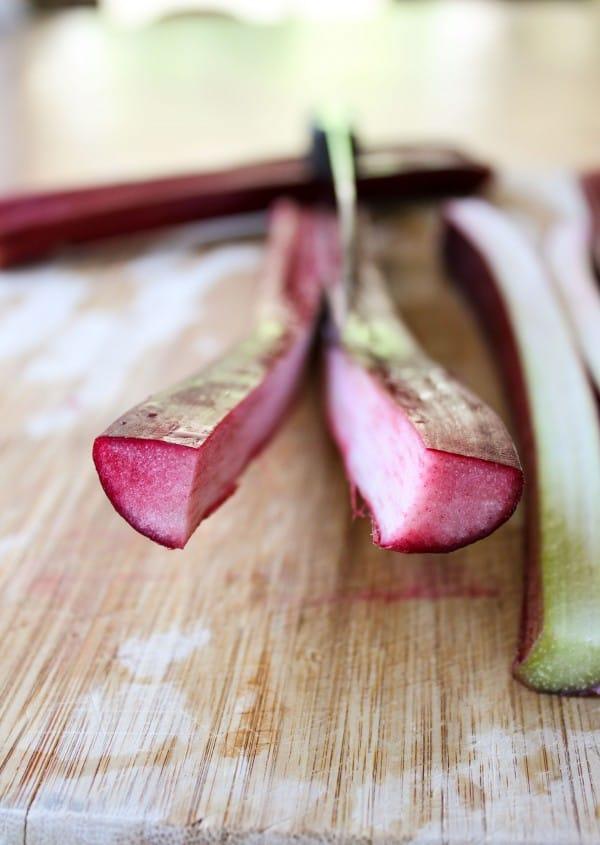 Close-up of rhubarb chopping
