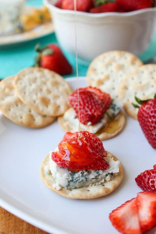 Honey-Drizzled Bleu Cheese Strawberry Bites