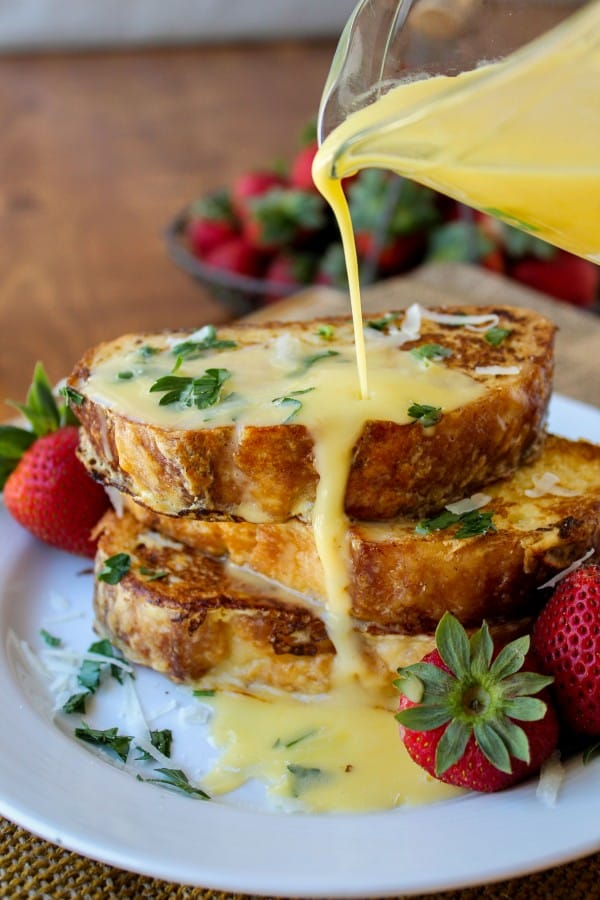 Savory Parmesan French Toast with Hollandaise Sauce from The Food Charlatan