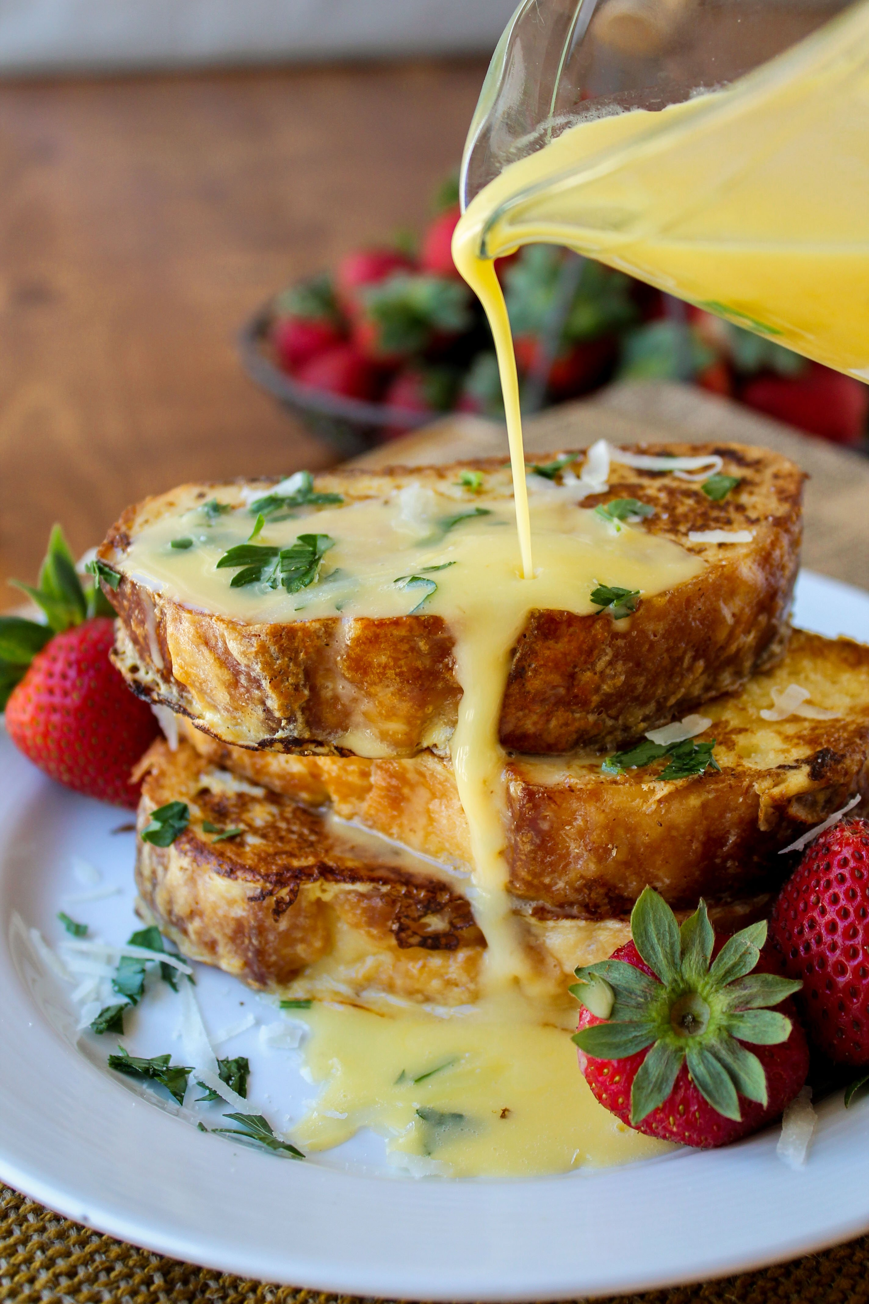 Savory Parmesan French Toast With Hollandaise Sauce The Food Charlatan