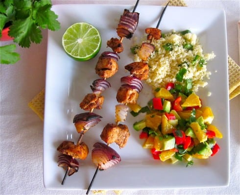 Chicken kebabs with Nectarine Salsa