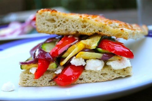 Grilled Squash, Red Pepper, and Feta Sandwich