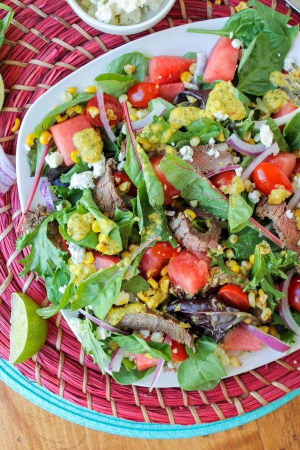 Watermelon And Lime Steak Salad With Roasted Corn