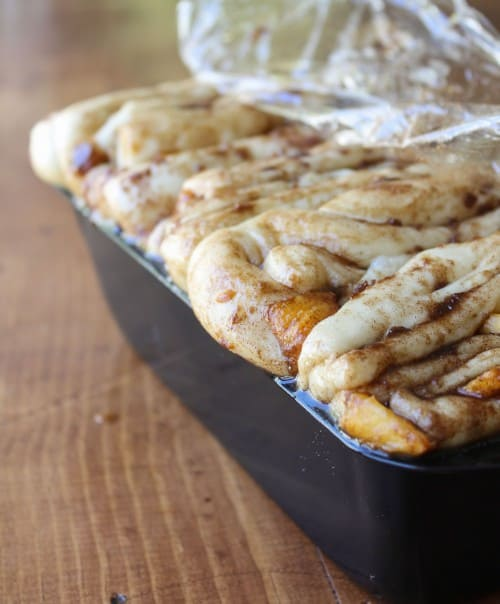 Peach Pull-Apart Bread with Caramel Sauce
