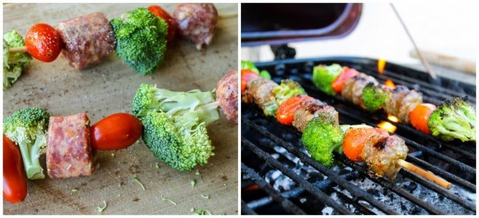 Easy Sausage and Broccoli Kebabs with White Bean Salad