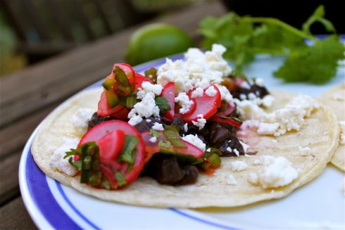 Black Bean Tacos with Radish Slaw and Feta
