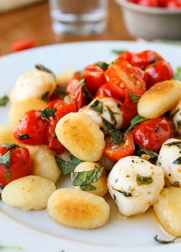 Easy Caramelized Gnocchi with Cherry Tomatoes and Mozzarella