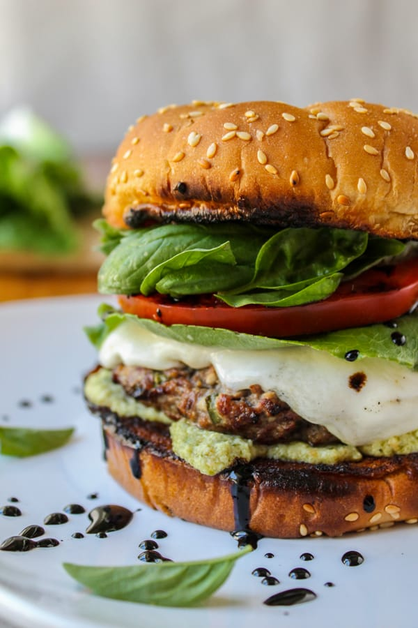Caprese Burger with Artichoke Pesto Sauce from TheFoodCharlatan.com