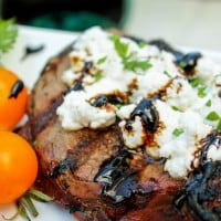 Goat Cheese Steak with Balsamic Glaze