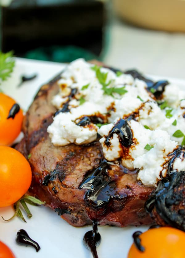 Goat Cheese Steak with Balsamic Glaze | TheFoodCharlatan.com // This easy grill recipe comes together in about 20 minutes!
