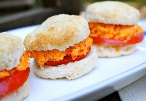 Pimiento Cheese, Tomato, and Biscuit Sandwiches