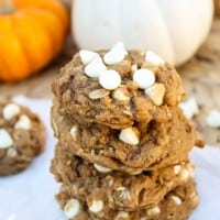 Pumpkin Oatmeal White Chocolate Chip Cookies and my 2-year Blog Anniversary!