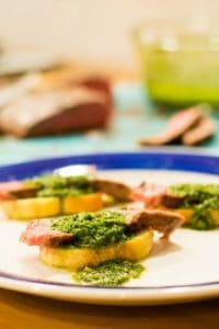Steak and Chimichurri Toasts from The Food Charlatan