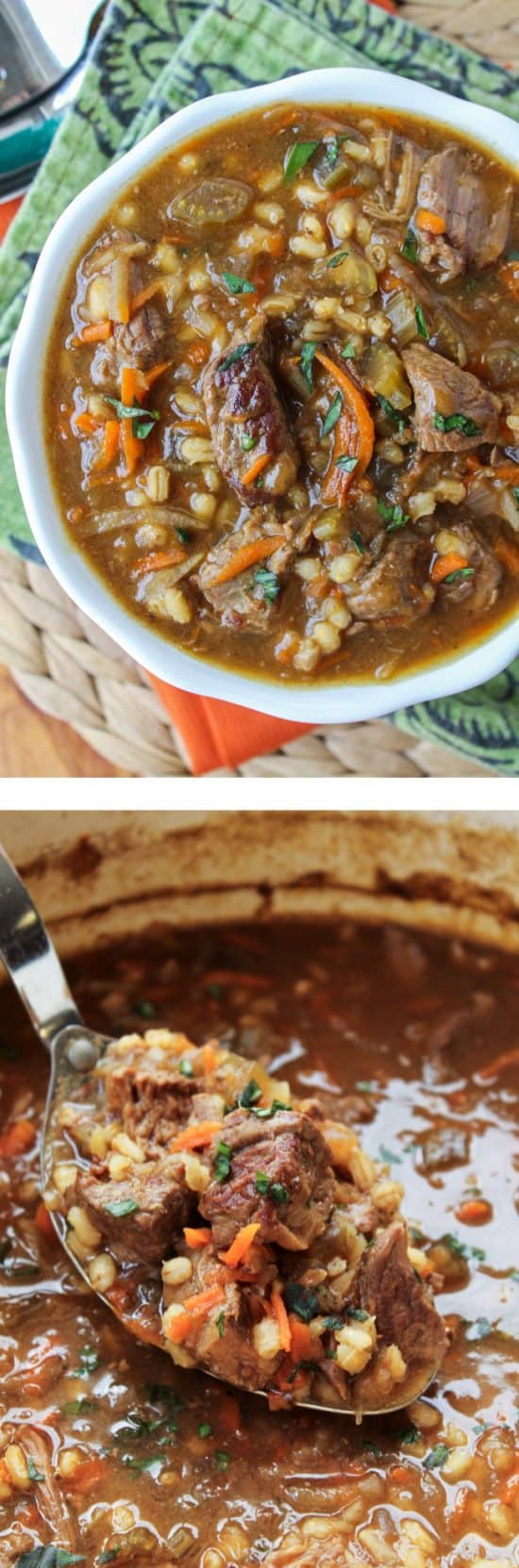 Beef Barley Soup from The Food Charlatan