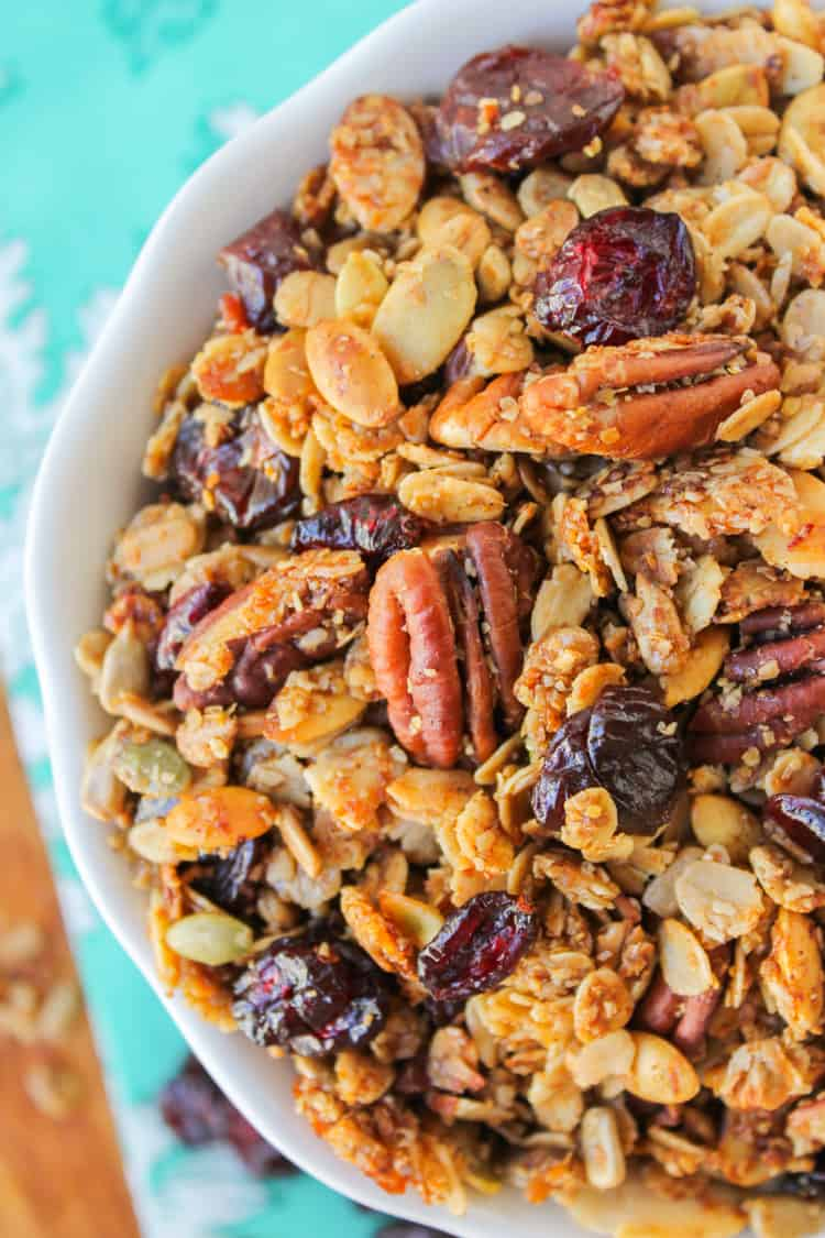 Maple Pecan Granola with Cherries from TheFoodCharlatan.com