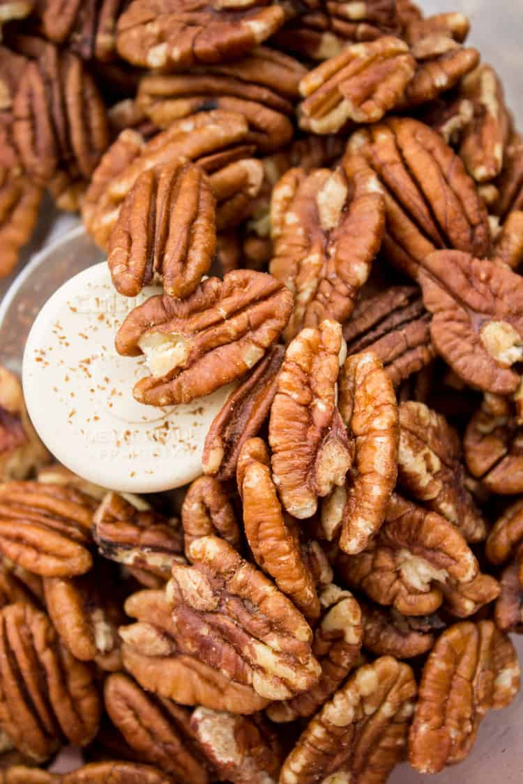 Whole pecans in food processor