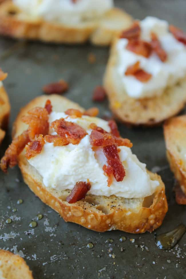 Bacon Ricotta Crostini from The Food Charlatan