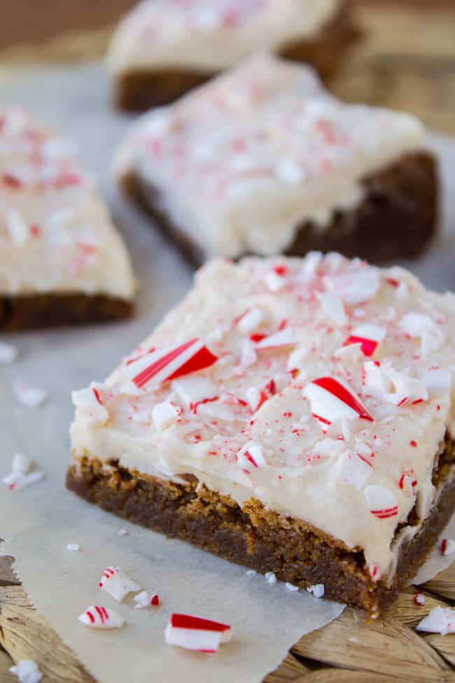 Frosted Peppermint Gingerbread Bars from The Food Charlatan