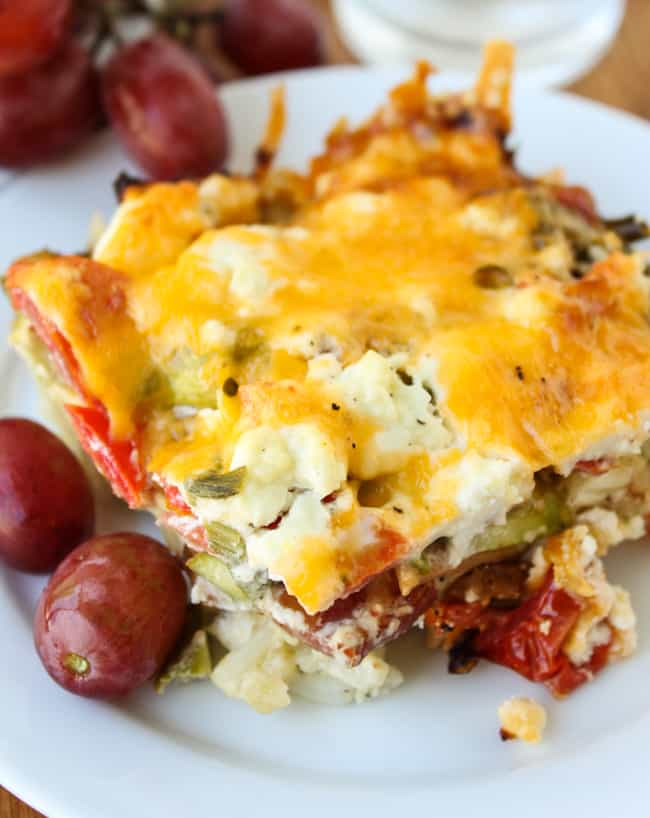 Overnight Bacon and Asparagus Breakfast Casserole from The Food Charlatan