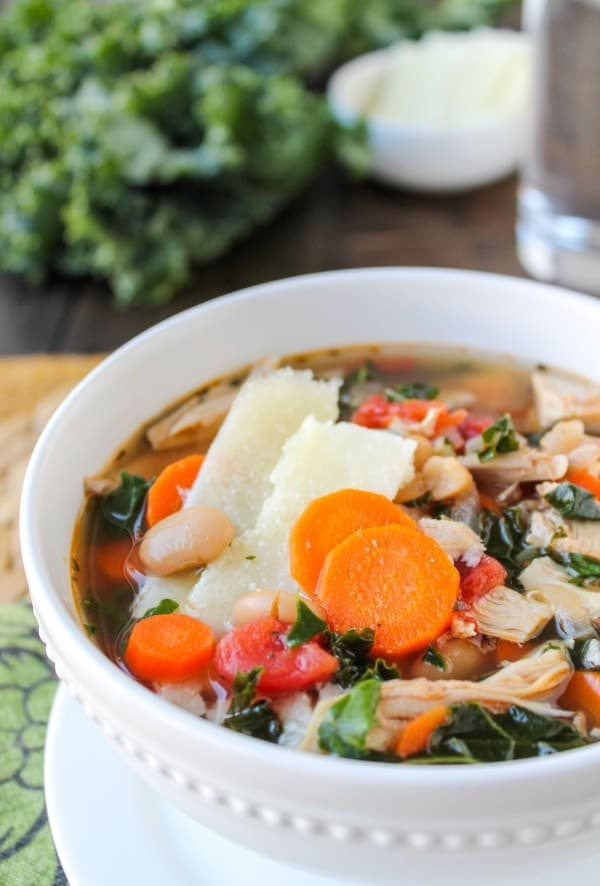 Kale, Chicken, and White Bean Soup with Parmesan Shavings