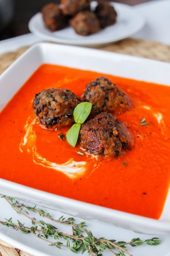 Red Pepper Soup with Black Bean Meatballs