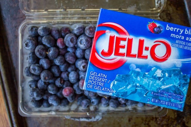Frozen Blueberries and Jell-O