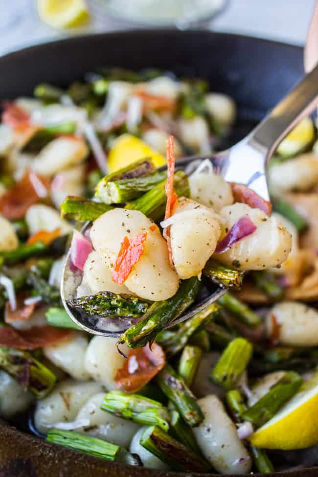 Brown Butter Gnocchi with Asparagus and Prosciutto from The Food Charlatan