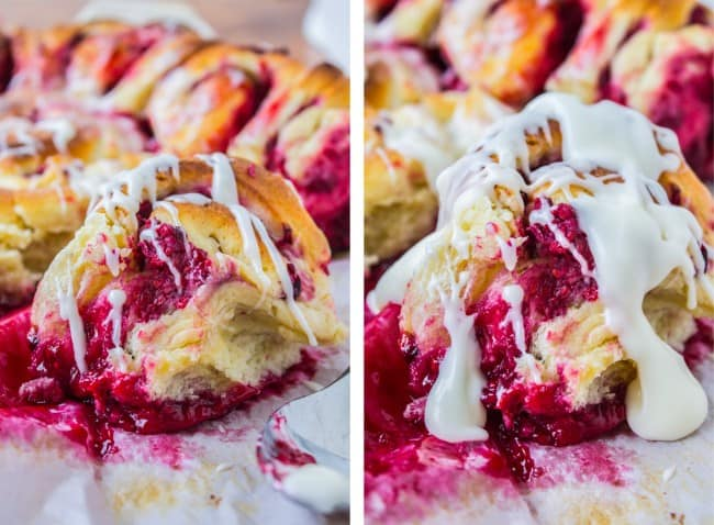 Raspberry Sweet Rolls with Coconut Cream Cheese Frosting from The Food Charlatan