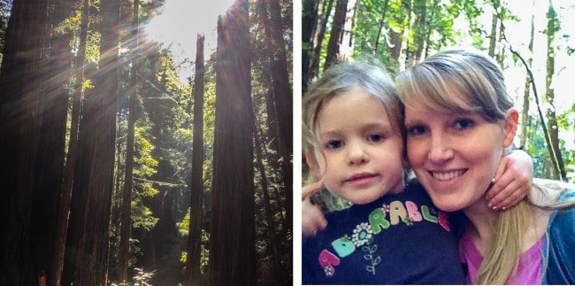 Sunlight shining in the redwoods with mother and daughter
