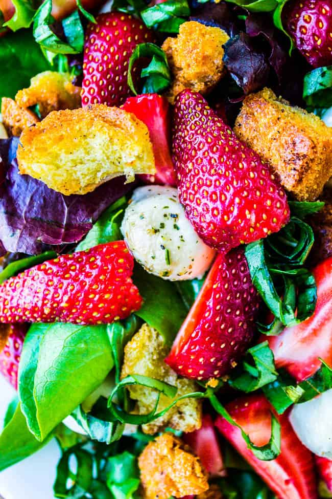 Strawberry Panzanella Salad from The Food Charlatan