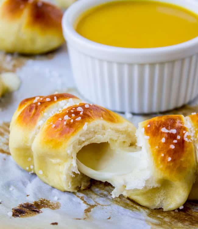 Mozzarella-Stuffed Soft Pretzels from The Food Charlatan