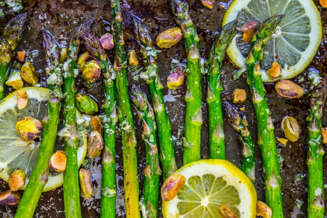 Lemon Asparagus with Pistachios from The Food Charlatan