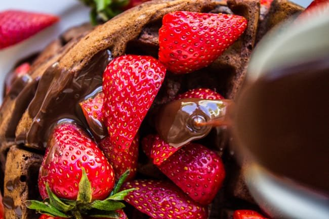 Dark Chocolate Waffles with Ganache and Strawberries from The Food Charlatan