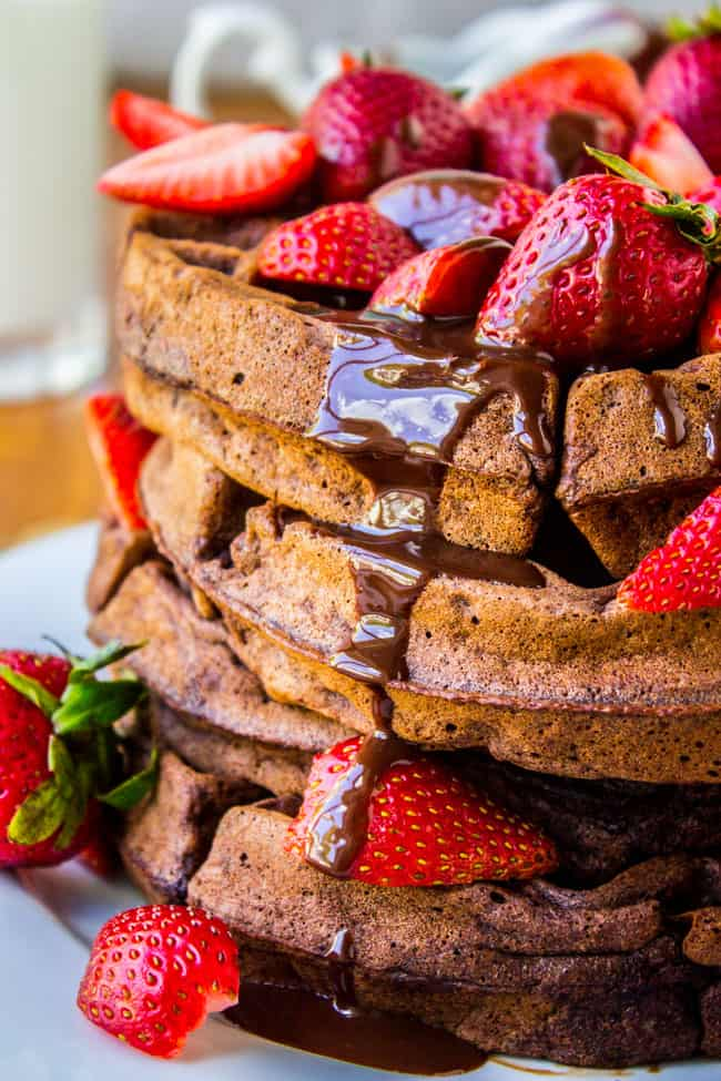 Dark Chocolate Waffles with Ganache and Strawberries from The Food ...