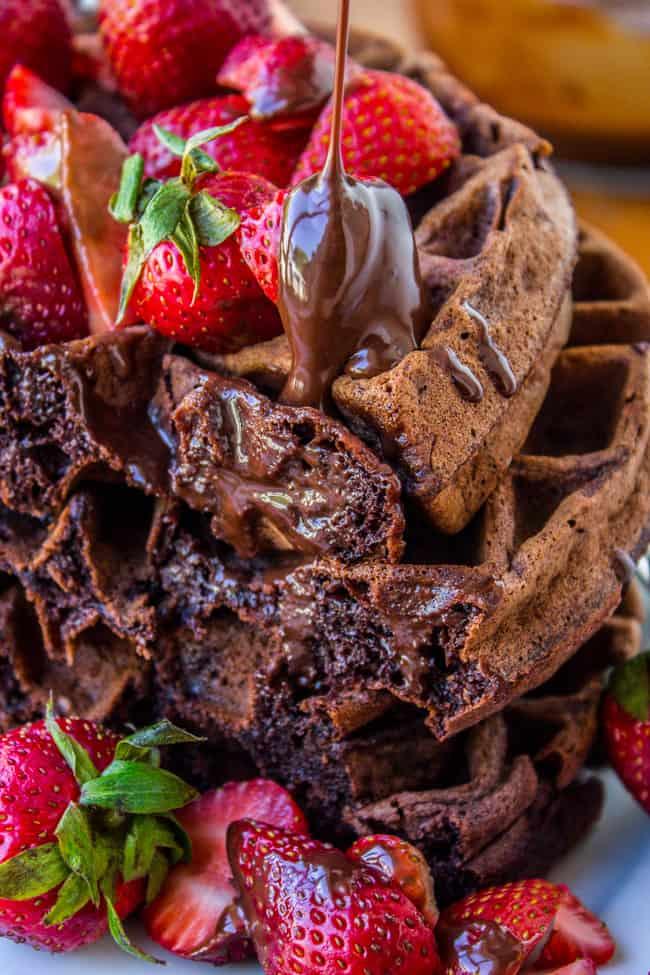 Dark Chocolate Waffles with Ganache and Strawberries from The Food Charlatan