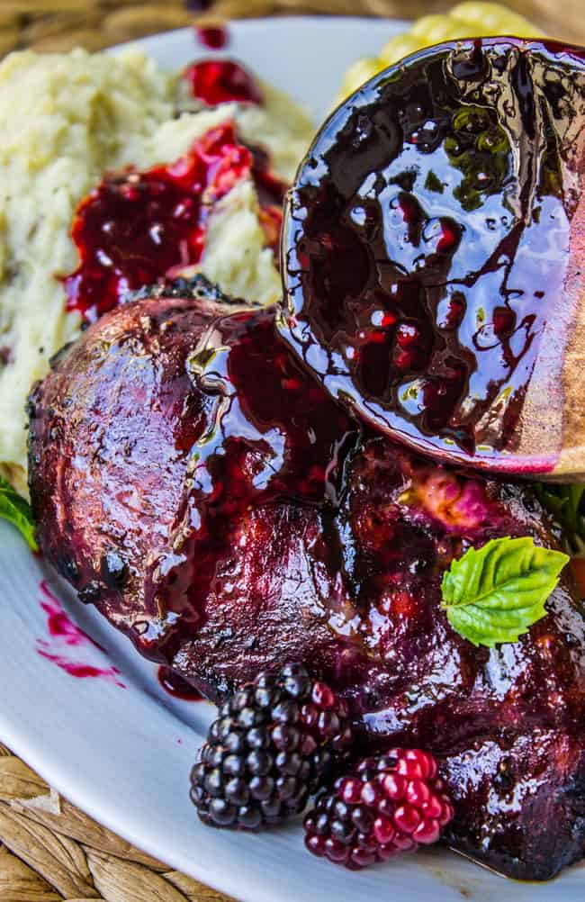 Blackberry Balsamic Glazed Chicken from The Food Charlatan